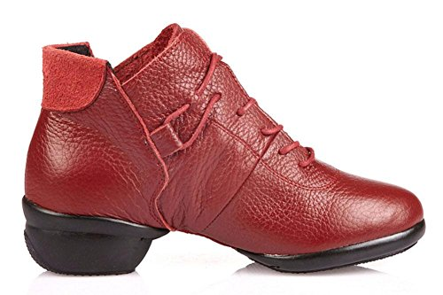 SHIXR Femme Cuir Chaussures Chaussures Plates Chaussures De Dame Espadrilles Rouges Chaussures De Danse Moderne Pour Perdre Du Poids rouge