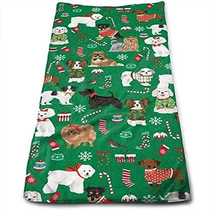 PEQUEÑO – Perro Navidad – Perros en suéteres feos, Navidad, Navidad, Diseño de Vacaciones Toallas de Mano Paño de Cocina Floral