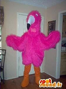 Mascotte SpotSound Amazon personnalisable d'oiseau sauvage, déguisement de toucan rose
