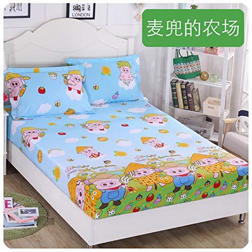 hllhpc Einzelstück Baumwolle Kinder Cartoon 1,2 m Anti-Rutsch-Bett Trampolin Abdeckung Baumwolle 1,5 m 1,8 dünne Matte Schutzhülle 9 100X200 + 30 -
