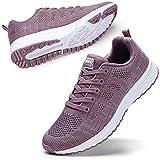 STQ Chaussures de Marche à Lacets pour Femme - Baskets de Course à Pied - Rose - Mauve, 38 2/3 EU