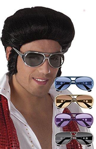 erdbeerloft - Elvis Brille Kostüm Sonnenbrille Rock´n Roll, Silber