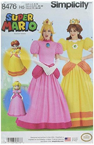 Simplicity 8476 Muster 8476 Damen Super Mario Prinzessinnen Kostüme, Papier, weiß, H5 ()