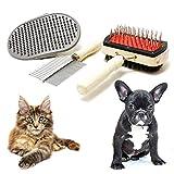 3-teiliges Hundebürsten-Set aus Holz, 2 verschiedene Fellbürsten und Pflege-Handschuh