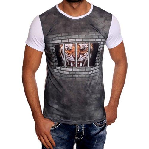 Herren Shirt Tiger Knast Zelle Mauer Ziegel Löwe Schwarz Grau Weiß Avroni Weiß