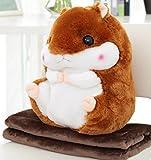 YunNasi 2 in 1 Schöner und Niedlich Plueschtier Hamster kissen mit Fleece Blanket Super Witziges und Süßes Geschenk für Kinder und Freundin 50cmX30cm (Braun)