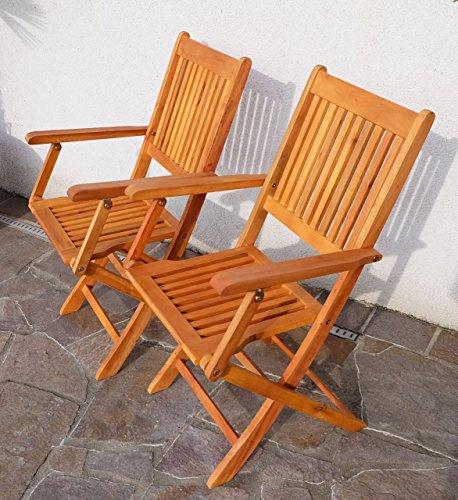 floristikvergleich.de 2x Klappsessel Gartenssessel Gartenstuhl Holz Eukalyptus wie Teak Modell: Barbados von AS-S