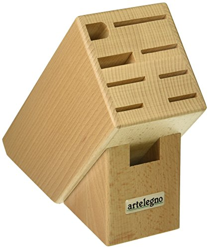 Artelegno Knife Block Solid Beech Wood 9 Slot Classic, Luxurious Italian Collection by Master Craftsmen Displays High-End Knives Elegantly, Eco-friendly for Blades up to 9.6