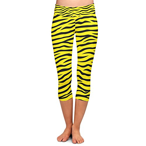 Queen of Cases Zebra Print Yellow - 2XL - Yoga Capri Leggings