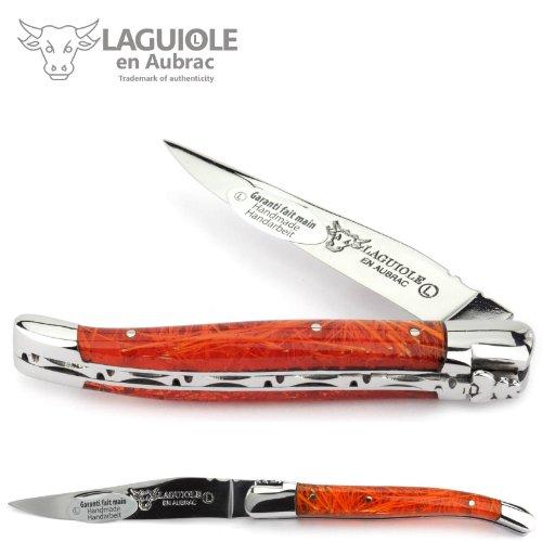 Laguiole en Aubrac Couteau 10 cm L0210F2IF manche en acrylique orange 'Feu d'art', Lame et Mitres Inox brillant