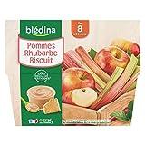 Blédina 4 Coupelles Pommes Rhubarbe Biscuit dès 8 mois