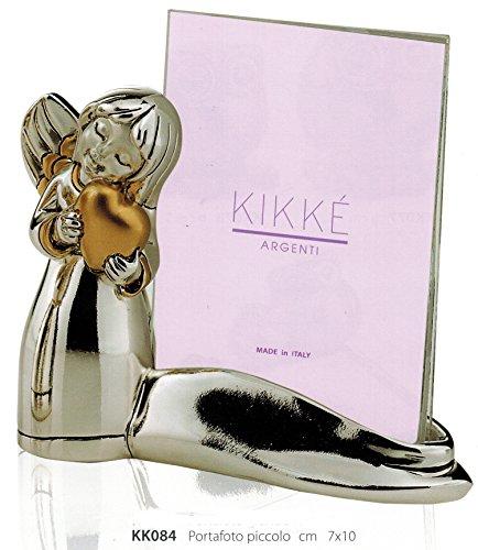 Porta foto con angelo cuore kikke cm7x10 inserti dorati laminato argento made in italy