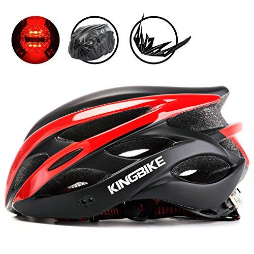 King bike caschi, con casco da viaggio zaino/staccabile visiera/posteriore led luce di sicurezza leggeri/comoda/misura regolabile