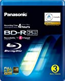 Panasonic LM-BRU25LAE3 25GB Write Once Blu-ray Media 1-4xSpeed Video Box -3 per Pack