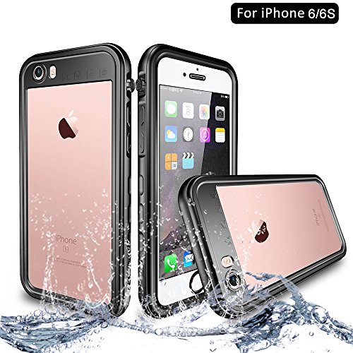NewTsie iPhone 6 / iPhone 6s Wasserdicht Stoßfest Hülle, IP68 Zertifiziert Schutzhülle Staubdicht mit Eingebautem Displayschutzfolie für iPhone 6/6s 4.7 inch (T-Schwarz)