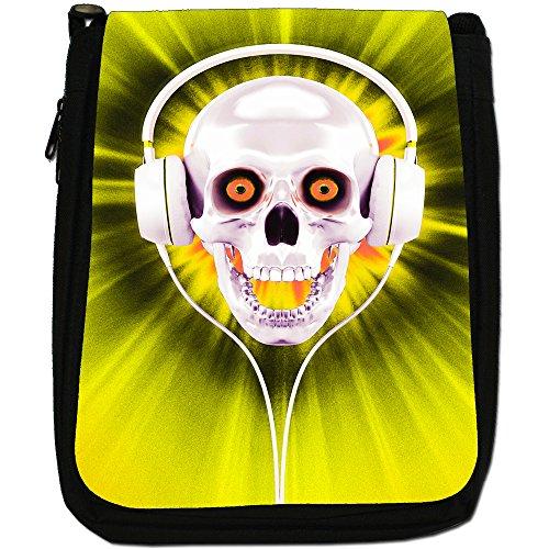 Con teschio con cuffie, colore: nero, Borsa a spalla in tela da uomo, taglia media Yellow Skull With Headphones