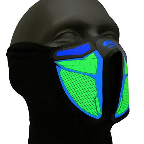 Ucult Techno-Maske Soundaktiviert Leucht-Maske Partymaske Sturmmaske Halloween Fasching Outdoor