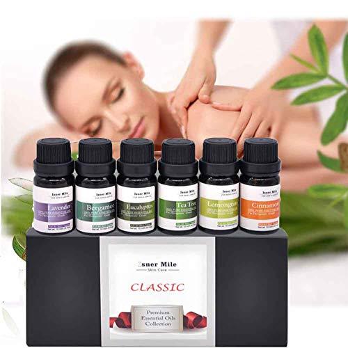 Ätherische Öle Geschenk-Set 6 x 10 ml (Zitronengras, Teebaum, Lavendel, Eukalyptus, Bergamotte, Zimt) für Diffusor, Luftbefeuchter, Massage, Aromatherapie, Haut-und Haarpflege (A) - Zimt Antibakteriell