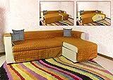 Banzaii Salvadivano copridivano Trapuntato Letto Bicolor da 2 a 4 posti in 8 abbinamenti Colore (Arancio/Giallo, 3 Posti)