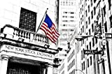 "Poster-Bild 120 x 80 cm: ""Illustration of Wall Street road sign and New York Stock Exchange in New York."", Bild auf Poster"