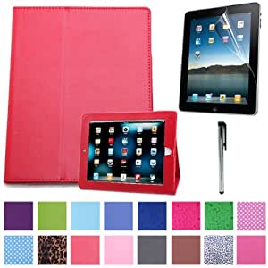 HDE® Red Magnetic Folding Cover Case Stand for iPad 1st Generation + Screen Protector + Stylus