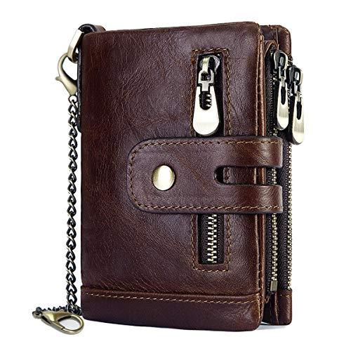 Herren Geldbörse RFID Schutz Männer Ledergeldbeutel mit Kette Doppelte Falte Herren Geldbeutel mit Münzfach Reißverschluss Portemonnaie 16 Kartenfächern Portmonee Brieftasche (Kaffee)