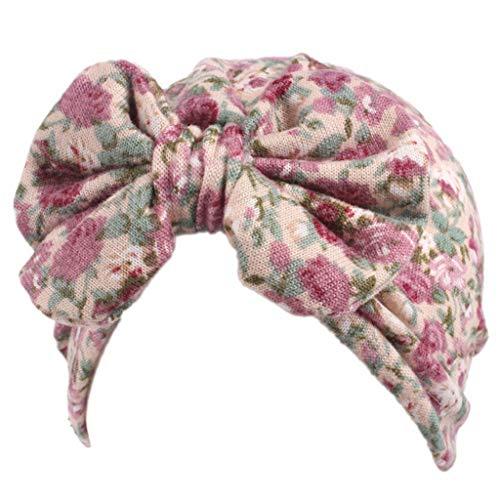 Baby Mädchen gestrickt Polka Dot Blumendruck Turban Hut Bowknot Beanie Cap elastische F ()