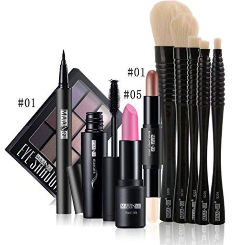 BrilliantDay 10Pcs Cosmetic Kit Lipstick Eyeliner Pen Mascara Surligneur Shimmer Stick Ombre à paupières Pinceau fond de teint Makeup Set#1