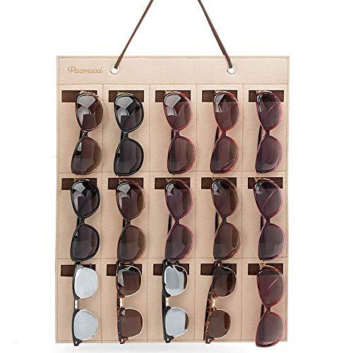 Gafas de Sol Organizador de Pared, 15 Ranuras Gafas de Sol Organizador Almacenamiento Colgante Gafas Montado en la Pared Colgante para Mujer