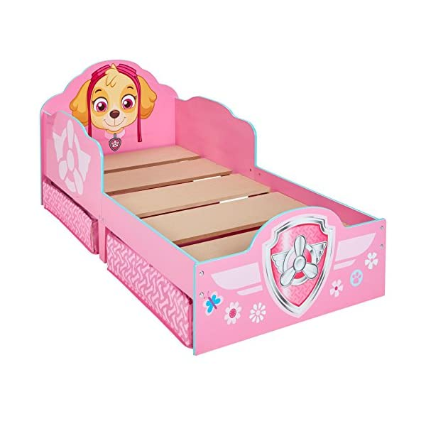 Hello Home Paw Patrol Skye Kids Toddler Bed with underbed Storage, Wood, Pink, 142x77x68 cm  Perfect for transitioning your little one from cot to first big bed The perfect size for toddlers, low to the ground with protective side guards to keep your little one safe and snug Two handy underbed, fabric storage drawers 8