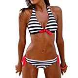 Kobay Frauen Bikini Set gestreiften Badeanzug Bademode Beachwear Badeanzug