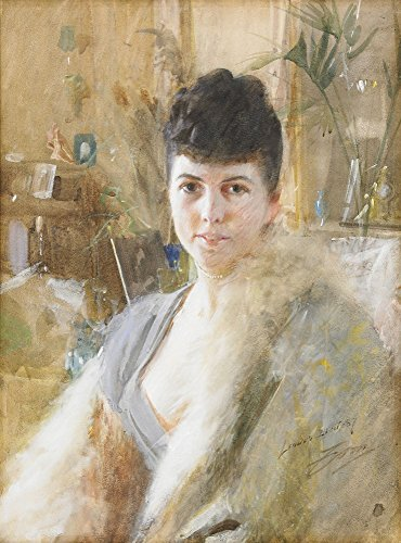 Das Museum Outlet-Anders Zorn-Lady mit Fell Cape 1887-Leinwanddruck Online kaufen (101,6x 127cm)