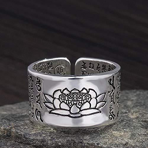 Daeou Ringe für Damen Kreative Thai Silber Retro-Lotus Buddha Felge Ring Männer und Frauen universelle Geschenke