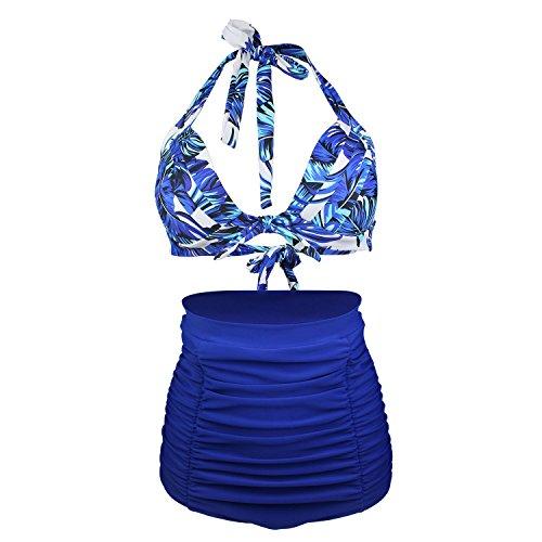 Laorchid 50s Vintage Damen Badeanzug Bauchweg Hoher Taille Bikini Set Push Up Bügellos Blaue Blumen 3XL