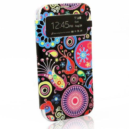 BYD - Offene Tasche Hülle Brieftasche Flip Case Seitenkoffer Tasche Hülle Rückseite Schale für Samsung Galaxy S4 GT-I9500/GT-I9503 9505 mit Smart View S-view Design Black Case with Blumen bunt drucken