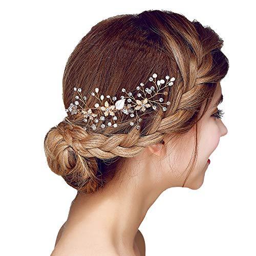 Handgefertigt Haarkämme Gold für Mädchen Braut Hochzeit,Edel Haarnadeln Haarschmuck mit Kristall Perlen Strass, Goldene Brautschmuck Haare-kamm Tiara für Damen