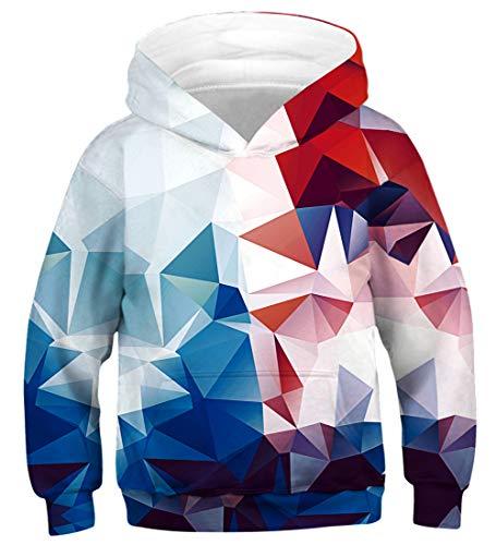 AIDEAONE Jungen Mädchen Diamant 3D Hoodie Pullover Hooded Sweatshirt 8-11 Jahre Diamant Pullover