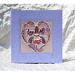 Verkauf!!!20% reduziert,Handgemalte Orchideen-Liebes-Karte,Blumen-Silk-Karte, Orchideen-Jahrestagskarte, ungewöhnliche purpurrote Hochzeits-Karte, exotische Blumenkarte, der Tag der Orchideen-Mutter ,Dankeschön-Karten