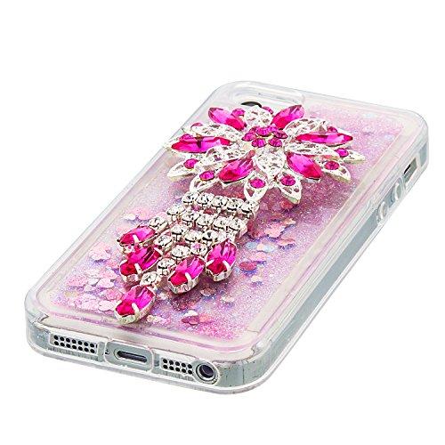 Flüssiges Case Ultra Thin Dünn TPU Silikon Schutzhülle für iPhone 5/5S/SE 3D Kreative Liquid Handyhülle Durchsichtig Rückseite Tasche Glitter Shiny Kristall Klar Handytasche Sparkle Dynamisch Treibsan A07