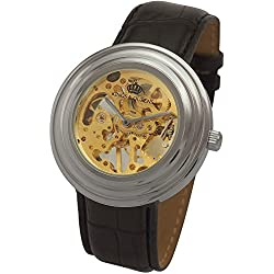 Kings and Queens Mens Mechanical Skeleton Watch Silver Bezel Black Leather Strap KQ-BKSL
