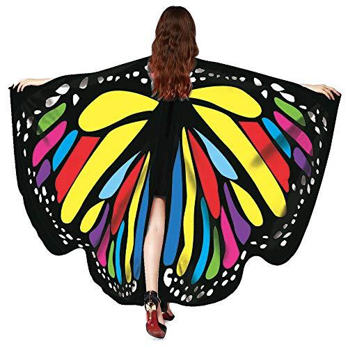 WOZOW Damen Schmetterling Schmetterlingsflügel Kostüm Faschingkostüme Poncho Schal Tuch Umhang für Party Cosplay Karneval Fasching (Mehrfarbig)