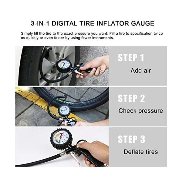 URAQT Manometro Presion Neumaticos, Manómetro Digital, Manómetro de Neumáticos, Medidor de Presión de Neumáticos con…