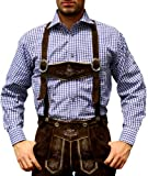 Trachtenhemd de pantalones de cuero traje Oktoberfest Trachtenmode Azul / karo (2XL)