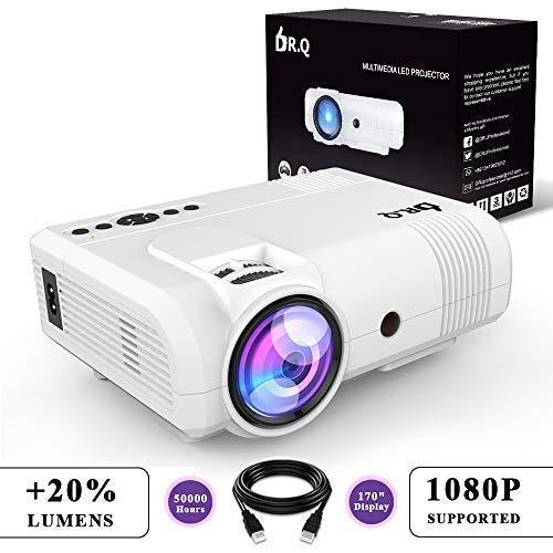 DR.Q Beamer (+20{54cbb9428470037e7c3392023c8d1ee2cddd902e85326b0f47d989a7581c472c} Lumens), Projektor, Video Beamer, Mini Beamer unterstützt 1080P, Kompatibel mit PC Smartphone Tablet HDMI VGA USB TF, Heimkino Projektor, Weiß
