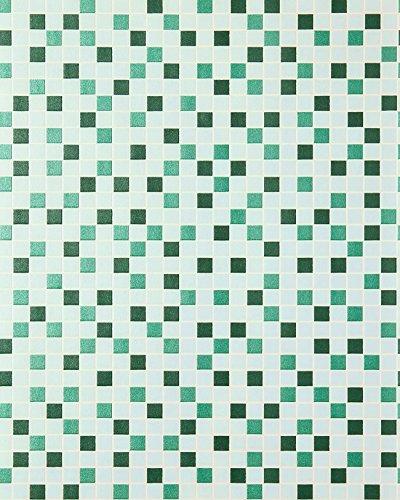 Badezimmer-fliesen Akzente (Mosaikstein Tapete Küchentapete EDEM 1022-15 Fliesen Kacheln Tapete mit geprägter Struktur mintgrün türkis smaragdgrün silber)