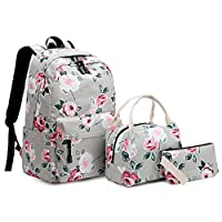 Ludzzi 3pcs Floral Backpack Set Nylon Girls School Bags Daypack Bookbags Lunch Bag Purse For School Students Teenagers Boys Girls