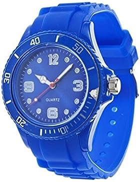 Unisex Bunt Silikon Uhr watch Armbanduhr Damenuhr Herrenuhr Uhr Jenny Trend Blau