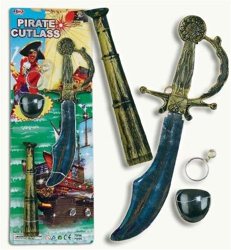 et 4tlg: Augenklappe,Ohrringe,Fernrohr,Säbel (Piraten Ohrring Und Augenklappe Set)