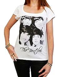 The Beatles : T-shirt Femme cŽlŽbritŽ,Blanc, t shirt femme,cadeau