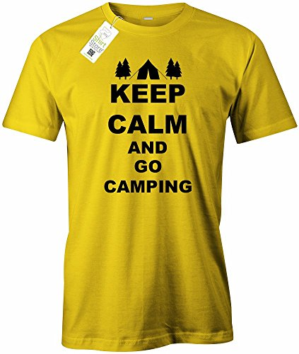 KEEP CALM AND GO CAMPING - HERREN - T-SHIRT Gelb